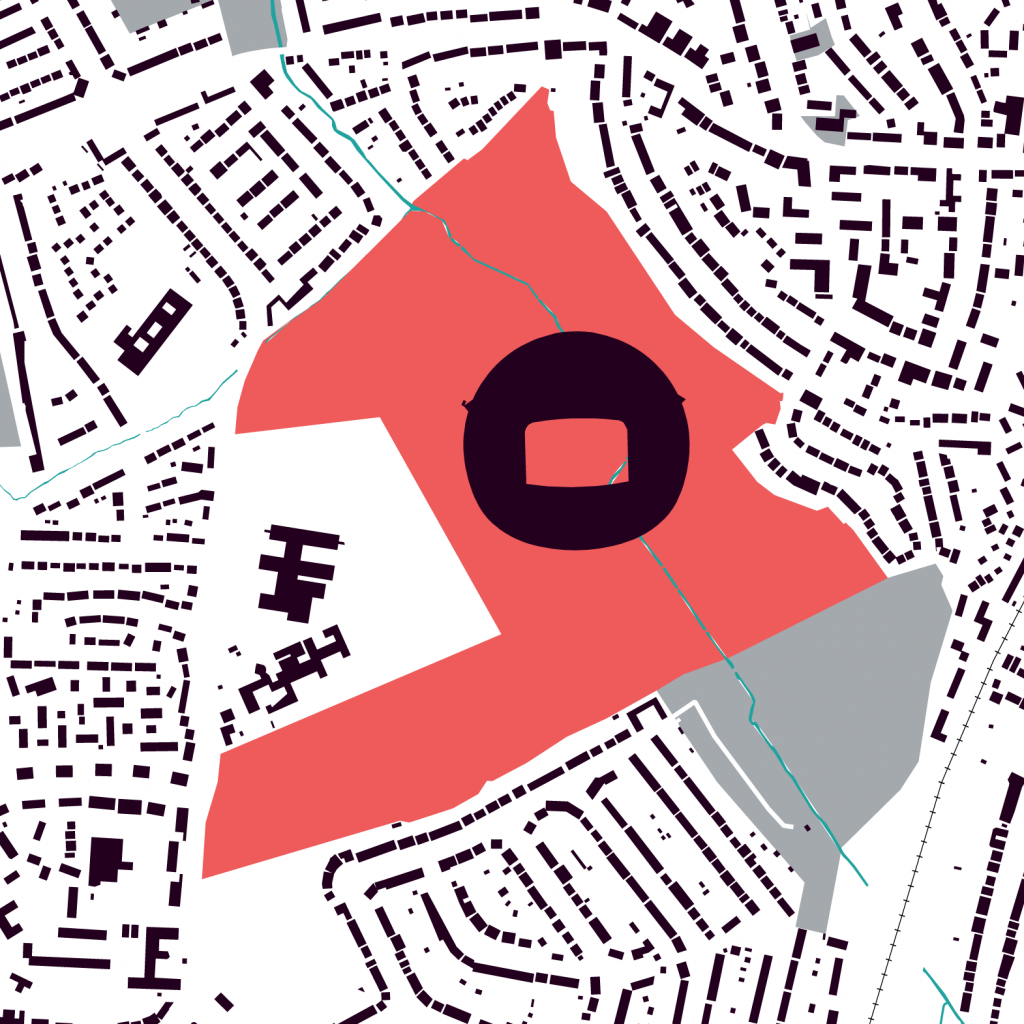 Map of Enfield Golf Course with an outline of Wembley Statdium superimposed on it.
