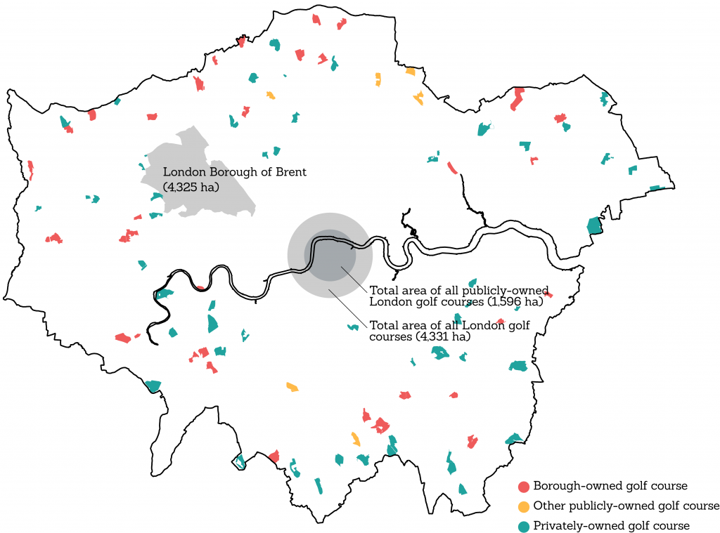 Map of London showing every active golf course and their combined size relative to Brent